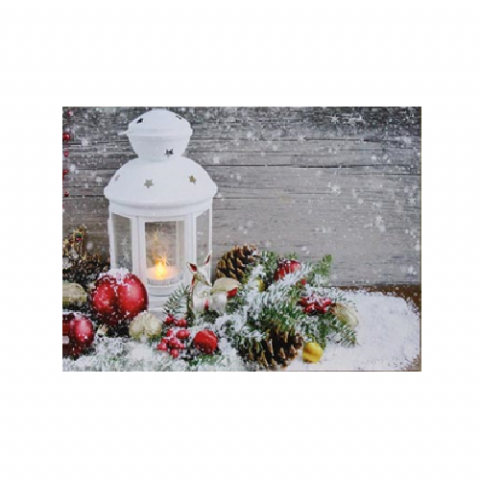 Lantern & Baubles - Canvas Wall Print With Flickering LED Light